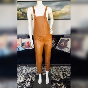 Chloe - Girls Tan Leather Biker Dungarees